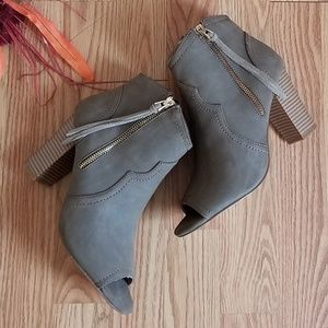 New! XOXO Ankle Booties Peep Toe Brown / Taupe 8.5